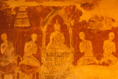 Ancient mural in Thai church,Middle of Thailand. Royalty Free Stock Photos