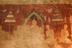 Ancient mural in Thai church,Middle of Thailand. Stock Image