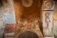 Ancient mural on wall of ruined church in Demre Stock Images