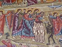 Ancient murals in monastery in holy Mount Athos Greece Stock Photos