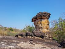The ancient mushroom shaped stone pillar naturally occurring used by human in Dvaravati Era. At Phu Phra bat historic park in Ban Phue district, Udon Thani Stock Images