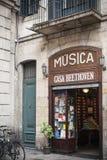 Ancient music store, Casa Beethoven, in La Rambla, since 1880, Barcelona. Royalty Free Stock Photos