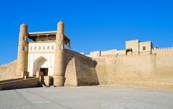 Ancient Muslim Architectural Complex Ark fortress. Now a museum-reserve, Bukhara, Uzbekistan, 17 century, UNESCO World Heritage Site Royalty Free Stock Photos