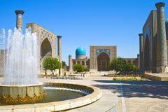 Ancient Muslim Architectural Complex. Registan in Samarkand, Uzbekistan, 14-17 century, UNESCO World Heritage Site Stock Photos