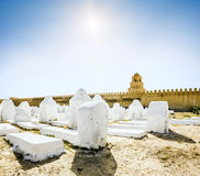 The ancient Muslim cemetery across from the mosque in Kairouan i Stock Image