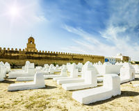 The ancient Muslim cemetery across from the mosque in Kairouan Royalty Free Stock Images