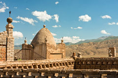 Ancient Muslim cemetery in the mountain village of Central Asia Royalty Free Stock Photography