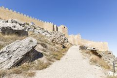 Ancient Muslim fortress and castle in Gormaz. Province of Soria, Spain Stock Photos