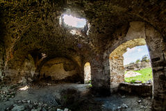 Ancient Mykulynci castle ruines room. Ukraine Ternopil royalty free stock image