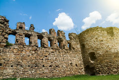 Ancient Mykulynci castle ruines room. Ancient Mykulynci castle ruines wall. Ukraine Ternopil royalty free stock photo