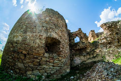 Ancient Mykulynci castle ruines room. Ancient Mykulynci castle ruines wall. Ukraine Ternopil stock photography