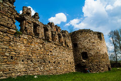 Ancient Mykulynci castle ruines room. Ancient Mykulynci castle ruines wall. Ukraine Ternopil royalty free stock photos