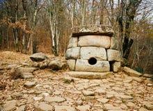 Ancient mystery stone dolmen in North Western Caucasus, Russia. Ancient mystery stone dolmen in the river valley Zhane, town Gelendzhik, North Western Caucasus Stock Image