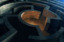 Ancient mystic labyrinth. And mysterious light royalty free illustration