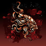 Ancient mythical lion from Eastern folklore stock illustration