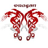 Ancient mythological red dragon, fiery astrological symbol on wh. Ite background, vector Royalty Free Stock Photo