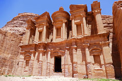 Ancient Nabataean `Ad Deir-The Monastery` on in The Lost City of Petra, Jordan Royalty Free Stock Photography