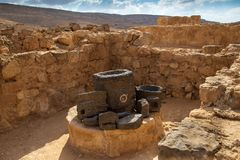Ancient Nabatean City of Mamshit. This ancient Christian Nabatean city in Israel`s Negev desert was abandoned after the Muslim consquest in the 7th century Royalty Free Stock Image