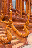 Ancient naga starue. In thai temple stock images