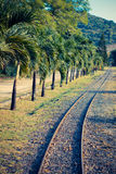 Ancient narrow-gage railroad. Mauritius. Retro effect.  stock photography