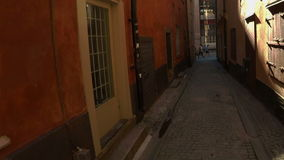 Ancient narrow street in central Stockholm. Old town. stock footage