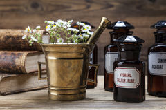The ancient natural medicine, herbs and medicines Stock Image
