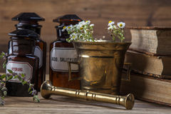The ancient natural medicine, herbs and medicines Royalty Free Stock Images