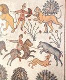 Ancient natural stone tile mosaics, Mount Nebo, Jordan royalty free stock photography