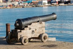 Old Naval Cannon - Port of La Spezia Italy. Ancient naval cannon 1819 in the port of La Spezia - Liguria - Italy - Europe stock image