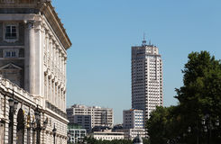 Ancient and new buildings of madrid. A perspective view of madrid, in a bright sunny day, with the royal palace and some modern buildings, landscape cut Stock Photo