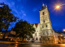 Ancient New Town Hall Tower and night lights, Prague, Czech Republic Royalty Free Stock Image
