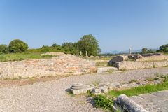 Ancient Nikopolis in preveza greece paleochristian church in the castle of Nikolopils culumns mosaics. Ancient Nikopolis in preveza greece paleochristian church royalty free stock image
