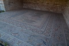 Ancient Nikopolis in preveza greece paleochristian church in the castle of Nikolopils culumns mosaics. Ancient Nikopolis in preveza greece paleochristian church stock images