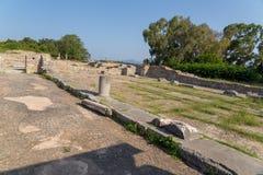 Ancient Nikopolis in preveza greece paleochristian church in the castle of Nikolopils culumns mosaics. Ancient Nikopolis in preveza greece paleochristian church stock photo