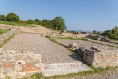 Ancient Nikopolis in preveza greece paleochristian church in the castle of Nikolopils culumns mosaics. Ancient Nikopolis in preveza greece paleochristian church stock image