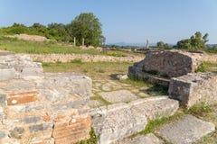 Ancient Nikopolis in preveza greece paleochristian church in the castle of Nikolopils culumns mosaics. Ancient Nikopolis in preveza greece paleochristian church stock photos