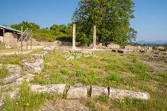 Ancient Nikopolis in preveza greece paleochristian church in the castle of Nikolopils culumns mosaics. Ancient Nikopolis in preveza greece paleochristian church royalty free stock photography