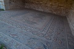 Ancient Nikopolis in preveza greece paleochristian church in the castle of Nikolopils culumns mosaics. Ancient Nikopolis in preveza greece paleochristian church royalty free stock images