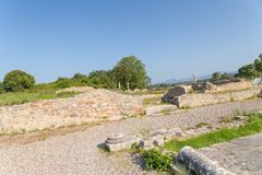 Ancient Nikopolis in preveza greece paleochristian church in the castle of Nikolopils culumns mosaics. Ancient Nikopolis in preveza greece paleochristian church stock photography