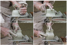 Ancient and noble art of pottery. Set of four photos illustrates the pottery process Royalty Free Stock Image