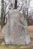 Ancient Nordic Runestone Stock Photo