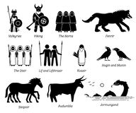 Ancient Norse Mythology People, Monsters and Creatures Characters Icon Set. Vector set illustrations of ancient people, monsters, and creatures from Norse royalty free illustration