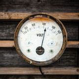 Ancient not serviceable measuring device on wooden wall Stock Images