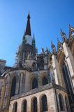 Ancient Notre Dame de Rouen. Medieval gothic catholic cathedral. Central spire hidden by scaffold. Rouen, Normandy, France stock images