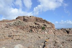 The ancient Nuraghe of Seruci, Sardinia. Italy stock image