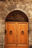 Ancient Oak Door San Gimignano Italy Stock Images
