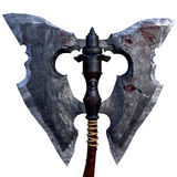 Ancient old axe with skulls on the handle 3d illustration Stock Image