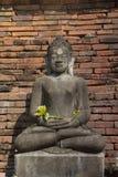 Ancient old buddha  in Hariphunchaitemple, pagoda at Lamphun,Thailand. Royalty Free Stock Photo