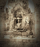 The ancient old buddha at Pra Prang Sam Yod in Lopburi, Thailand,Vintage picture Royalty Free Stock Photos