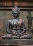 Ancient old buddha in Wat Pratadhariphunchai Lamphun, Thailand Royalty Free Stock Photo